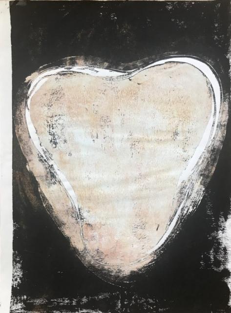 Herzdruck 8, Acryl-Holzdruck, 32 x 45 cm, 2020